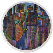 The Gods Of Music Come To New York Round Beach Towel