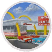 The Golden Age Of The Golden Arches Round Beach Towel