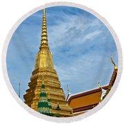The Golden Chedis At Grand Palace Of Thailand In Bangkok Round Beach Towel