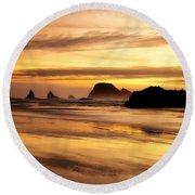 The Golden Coast Round Beach Towel by Darren  White