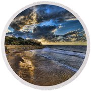 the golden hour during sunset at Israel Round Beach Towel by Ronsho