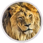 The Golden King 1 Round Beach Towel