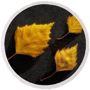 The Golden Leaves Round Beach Towel
