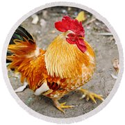 The Golden Rooster Round Beach Towel