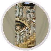 The Golden Stairs Round Beach Towel