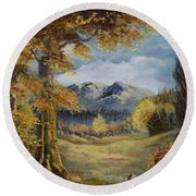The Golden View Round Beach Towel
