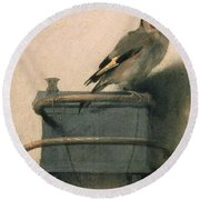 The Goldfinch Round Beach Towel by Carel Fabritius