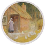 The Goose Girl Round Beach Towel by Arthur Claude Strachan