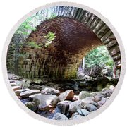 The Gorge Trail Stone Bridge Round Beach Towel