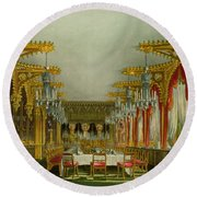 The Gothic Dining Room At Carlton House Round Beach Towel