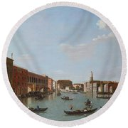 The Grand Canal And San Geremia, Venice, 18th Century Round Beach Towel