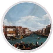 The Grand Canal At Venice Round Beach Towel by Antonio Canaletto