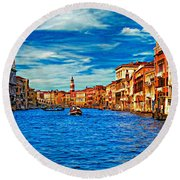 The Grand Canal Impasto Round Beach Towel