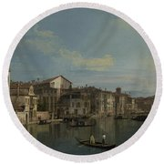 The Grand Canal In Venice Round Beach Towel