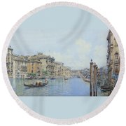 The Grand Canal With A View Of Palace Round Beach Towel