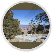 The Grand Canyon In January Round Beach Towel