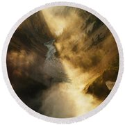 The Grand Canyon Of Yellowstone Round Beach Towel
