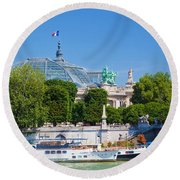 The Grand Palais And The Alexandre Bridge Paris Round Beach Towel