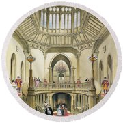 The Grand Staircase, Windsor Castle Round Beach Towel