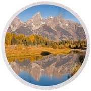 The Grand Tetons At Schwabacher Landing Grand Teton National Park Round Beach Towel