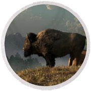 The Great American Bison Round Beach Towel