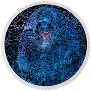 The Great Amma In Black Light Round Beach Towel