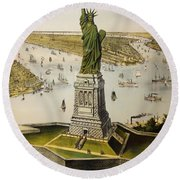 The Great Bartholdi Statue Round Beach Towel