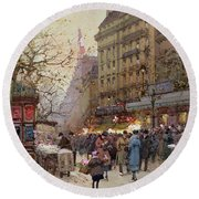 The Great Boulevards Round Beach Towel