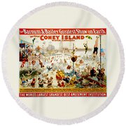 The Great Coney Island Water Carnival Round Beach Towel by Georgia Fowler