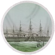 The Great Eastern Laying Electrical Cable Between Europe And America Round Beach Towel