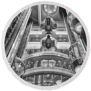 The Great Glass Elevators Round Beach Towel