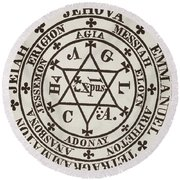 The Great Magic Circle Of Agrippa For The Evocation Of Demons Round Beach Towel
