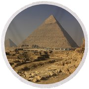 The Great Pyramids Of Giza Egypt  Round Beach Towel by Ivan Pendjakov