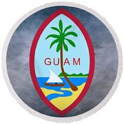 The Great Seal Of Guam Territory Of Usa  Round Beach Towel