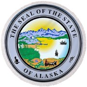 The Great Seal Of The State Of Alaska  Round Beach Towel