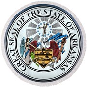 The Great Seal Of The State Of Arkansas Round Beach Towel