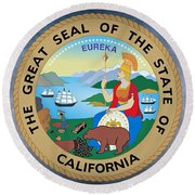 The Great Seal Of The State Of California Round Beach Towel