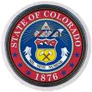 The Great Seal Of The State Of Colorado Round Beach Towel