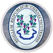 The Great Seal Of The State Of Connecticut Round Beach Towel
