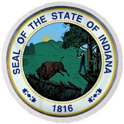 The Great Seal Of The State Of Indiana  Round Beach Towel