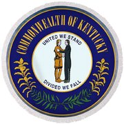 The Great Seal Of The State Of Kentucky  Round Beach Towel