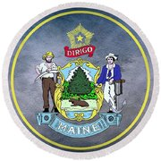 The Great Seal Of The State Of Maine  Round Beach Towel