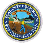 The Great Seal Of The State Of Minnesota Round Beach Towel