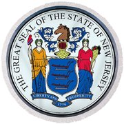 The Great Seal Of The State Of New Jersey Round Beach Towel