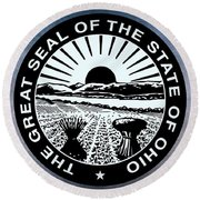 The Great Seal Of The State Of Ohio  Round Beach Towel