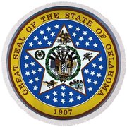 The Great Seal Of The State Of Oklahoma Round Beach Towel