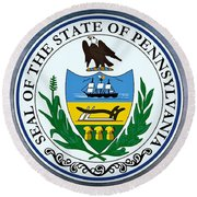 The Great Seal Of The State Of Pennsylvania  Round Beach Towel