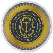 The Great Seal Of The State Of Rhode Island Round Beach Towel