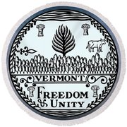 The Great Seal Of The State Of Vermont Round Beach Towel