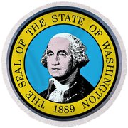 The Great Seal Of The State Of Washington Round Beach Towel
